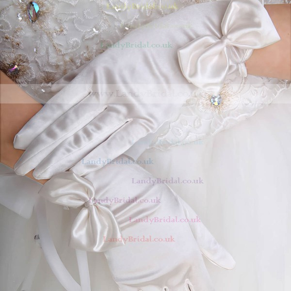 White Elastic Satin Wrist Length Gloves with Bow #LDB03120071