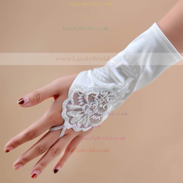 White Elastic Satin Wrist Length Gloves with Lace/Sequins