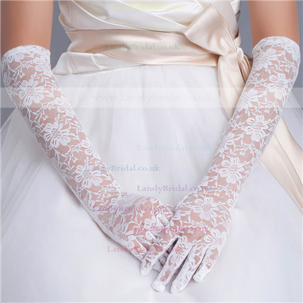 White Lace Elbow Length Gloves with Lace