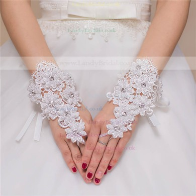 Ivory Lace Wrist Length Gloves with Rhinestone/Lace #LDB03120074