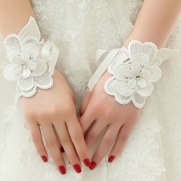 Ivory Lace Wrist Length Gloves with Lace Flower #LDB03120075