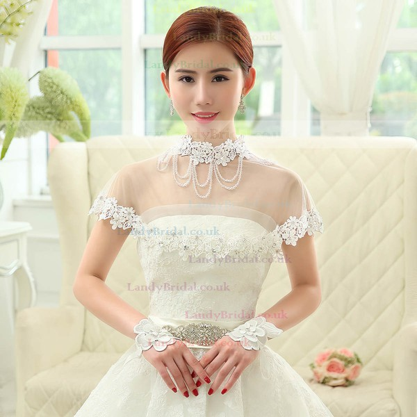 Ivory Lace Wrist Length Gloves with Lace Flower