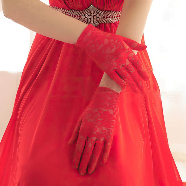White Lace Wrist Length Gloves with Lace #LDB03120076