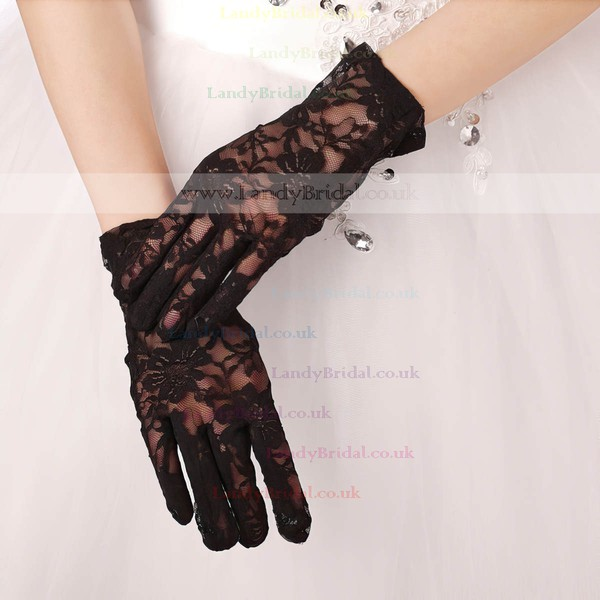 White Lace Wrist Length Gloves with Lace