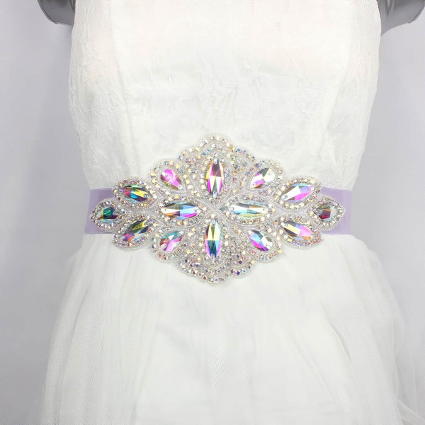 Women Charmeuse Rhinestones/Crystal Sashes #LDB03140001