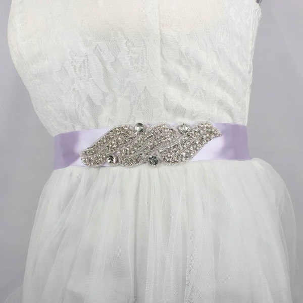 Women Charmeuse Rhinestones/Crystal Sashes #LDB03140002