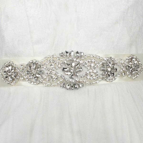 Women Charmeuse Imitation Pearls/Crystal Sashes