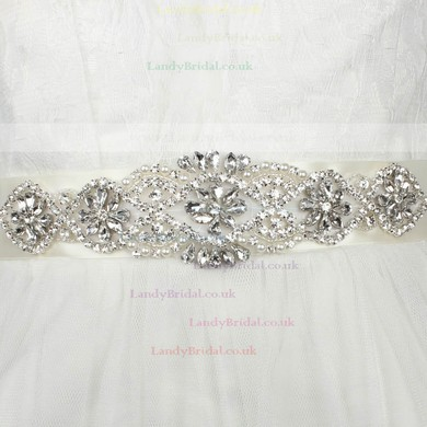 Women Charmeuse Imitation Pearls/Crystal Sashes #LDB03140003