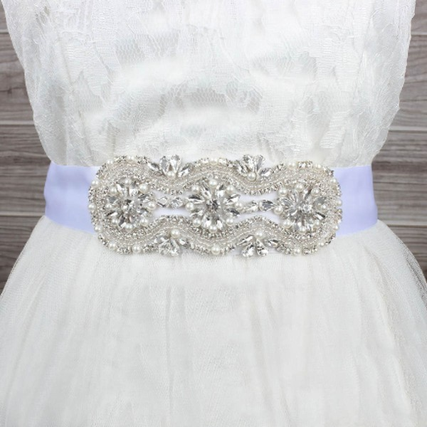 Women Satin Imitation Pearls/Crystal Sashes #LDB03140004