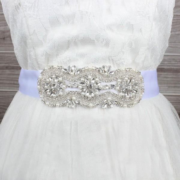 Women Satin Imitation Pearls/Crystal Sashes
