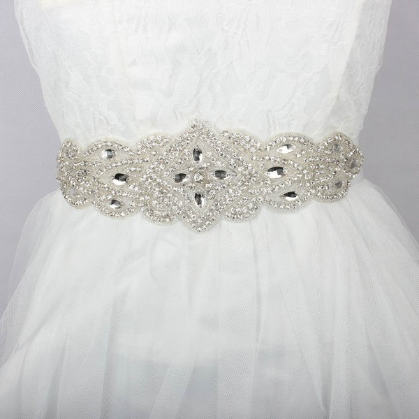 Women Charmeuse Beading/Crystal Sashes #LDB03140007