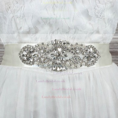 Women Charmeuse Imitation Pearls/Crystal Sashes #LDB03140009