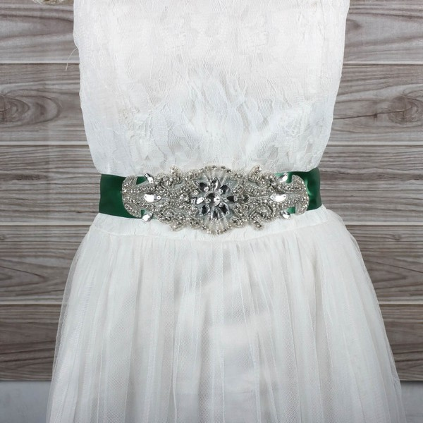 Women Charmeuse Beading/Crystal Sashes #LDB03140012