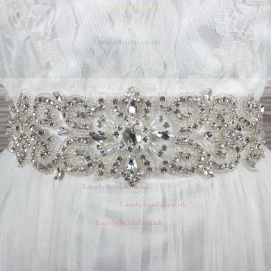 Women Satin Beading/Imitation Pearls/Crystal Sashes #LDB03140014