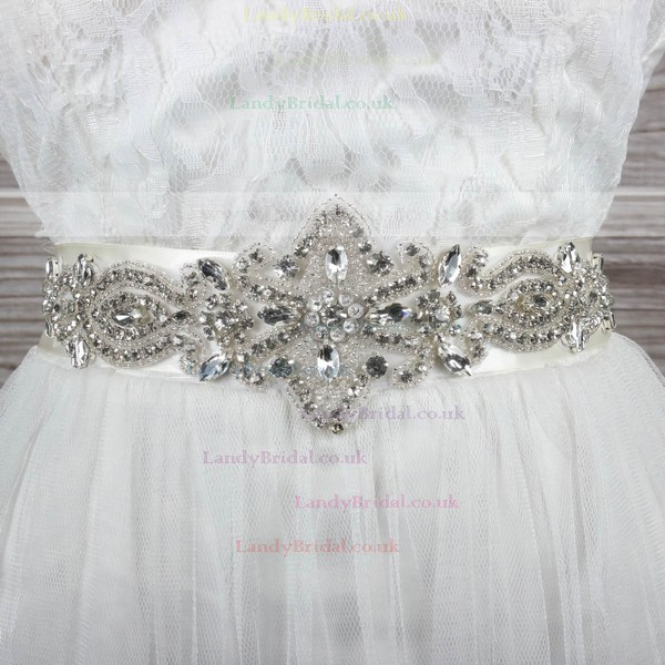 Women Charmeuse Beading/Imitation Pearls/Crystal Sashes