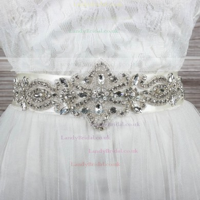 Women Charmeuse Beading/Imitation Pearls/Crystal Sashes #LDB03140016