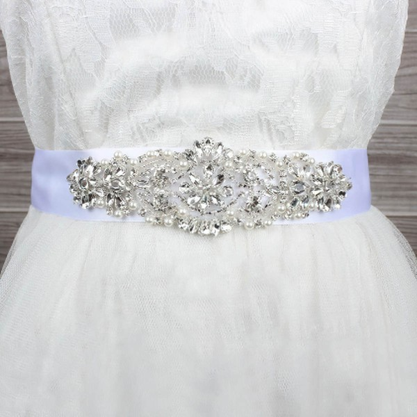 Women Charmeuse Beading/Imitation Pearls/Crystal Sashes #LDB03140019