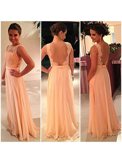 Scoop Neck Chiffon Tulle with Appliques Lace New Floor-length Prom Dresses #LDB02014904