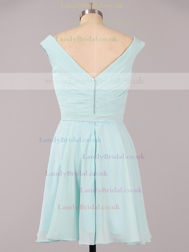 Off-the-shoulder Ruffles Chiffon Cute Blue Short/Mini Bridesmaid Dress #LDB01012079
