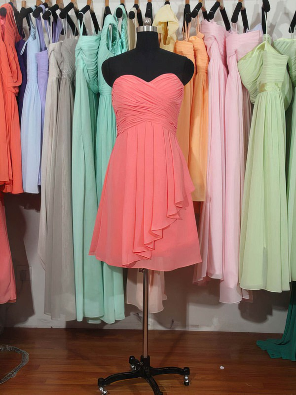 Sweetheart Watermelon Chiffon Ruffles Knee-length Cute Bridesmaid Dress #LDB01012179