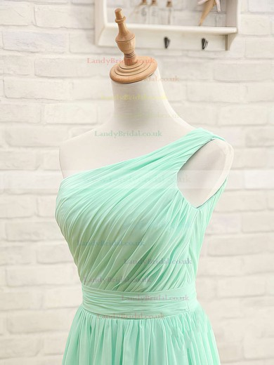 A-line One Shoulder Chiffon Floor-length Sleeveless Bridesmaid Dresses #LDB01012405