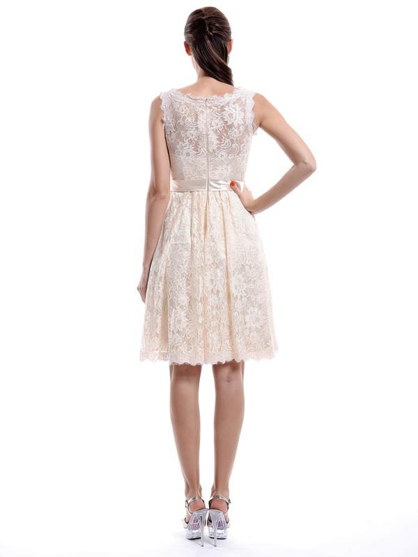 A-line Square Neckline Lace Knee-length Sleeveless Bridesmaid Dresses #LDB01012422