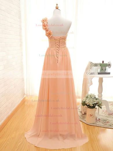 A-line One Shoulder Chiffon Sweep Train Sleeveless Bridesmaid Dresses #LDB01012434