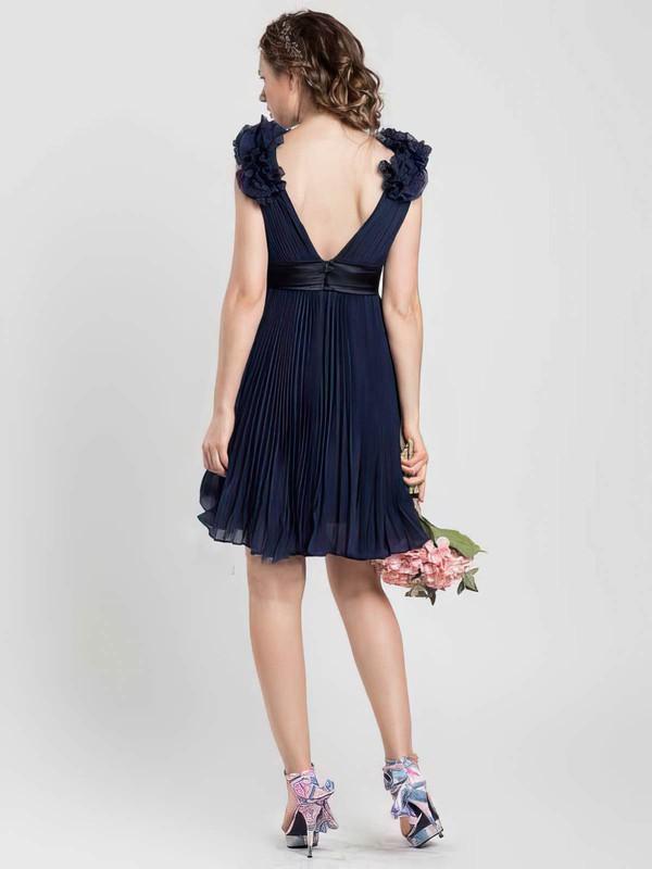 A-line V-neck Chiffon Short/Mini Sleeveless Bridesmaid Dresses #LDB01012454