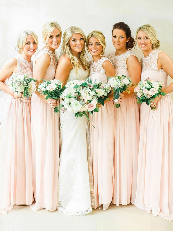 Elegant Sweep Train Pearl Pink Chiffon Lace Scoop Neck Bridesmaid Dresses #LDB01012467
