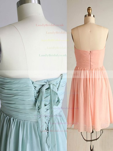 Short/Mini Sweetheart Sage Chiffon Pleats Lace-up Girls Bridesmaid Dresses #LDB01012470