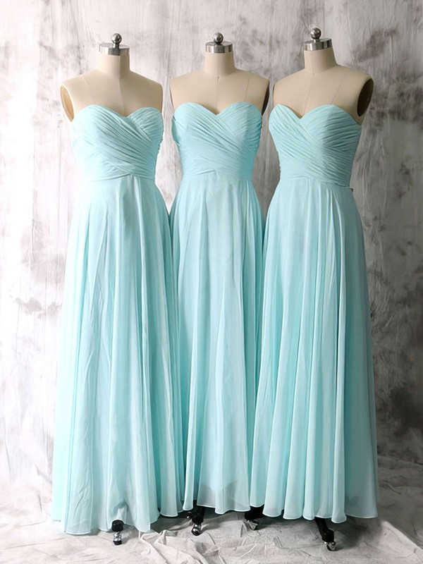 Hot A-line Chiffon Ruffles Sweetheart Light Sky Blue Bridesmaid Dresses #LDB01012535