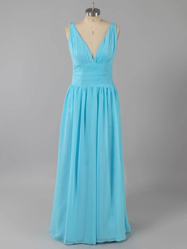Simple A-line Lilac Chiffon Ruffles V-neck Bridesmaid Dresses #LDB01012590