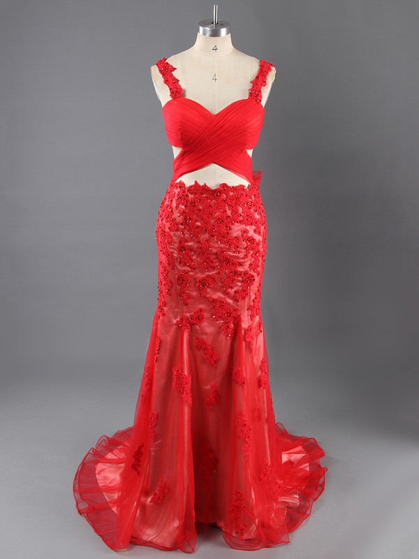 Backless V-neck Tulle Appliques Lace Red Trumpet/Mermaid Evening Dress #LDB02023561