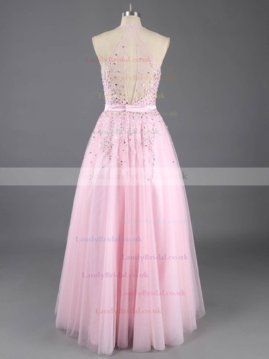 Princess Pearl Pink Tulle Beading Floor-length Online Prom Dress #LDB02016538