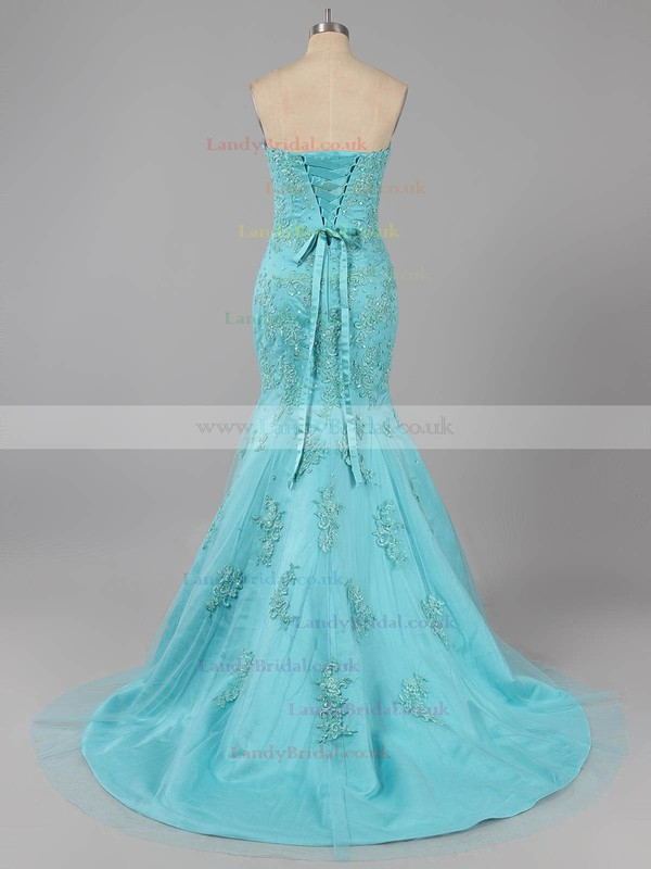 Trumpet/Mermaid Blue Taffeta Tulle Appliques Lace Sweep Train Lace-up Prom Dresses #LDB020100135