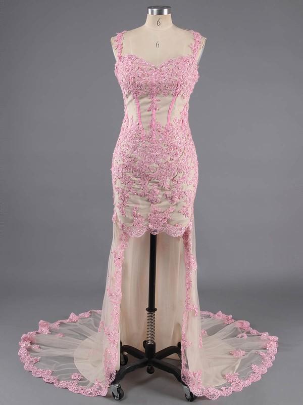 Asymmetrical Spaghetti Straps Tulle Beading V-neck Open Back Prom Dresses #LDB02016727