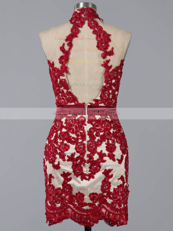 High Neck Red Chiffon Open Back Beading Detachable Prom Dresses #LDB02016734