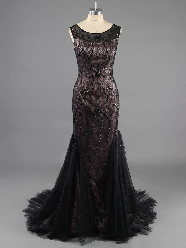 Scoop Neck Black Lace Tulle Beading Vintage Trumpet/Mermaid Prom Dresses #LDB02016754