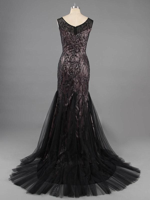 Scoop Neck Black Lace Tulle Beading Vintage Trumpet/Mermaid Prom Dresses #LDB02016754