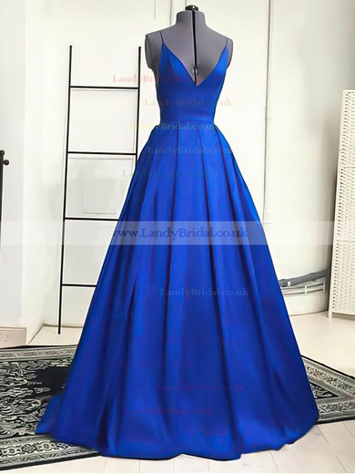 A-line V-neck Satin Sweep Train Prom Dresses #LDB02019053