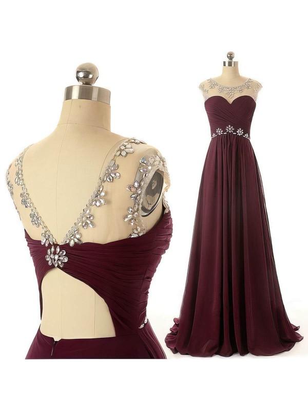 Fabulous Scoop Neck Chiffon Tulle Beading and Pleats Grape Prom Dresses #LDB02019078