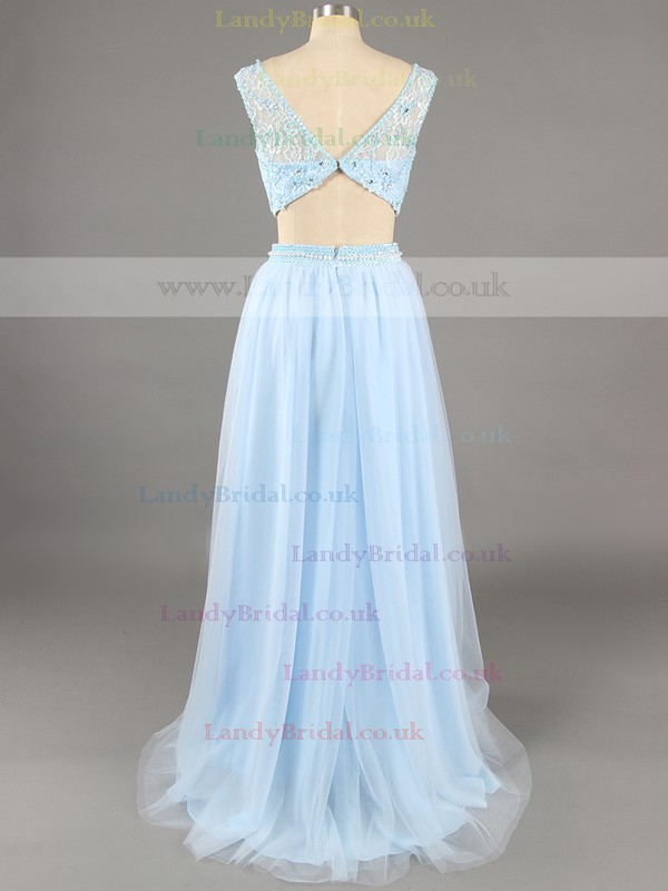 Two Piece Scoop Neck Blue Chiffon with Beading A-line Unique Prom Dress #LDB020100065