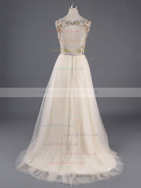 Champagne Tulle Scoop Neck Crystal Detailing Backless Floor-length Prom Dresses #LDB020100138