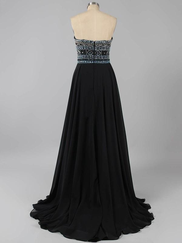 Elegant Strapless Black Chiffon Crystal Detailing Floor-length Prom Dresses #LDB020100631