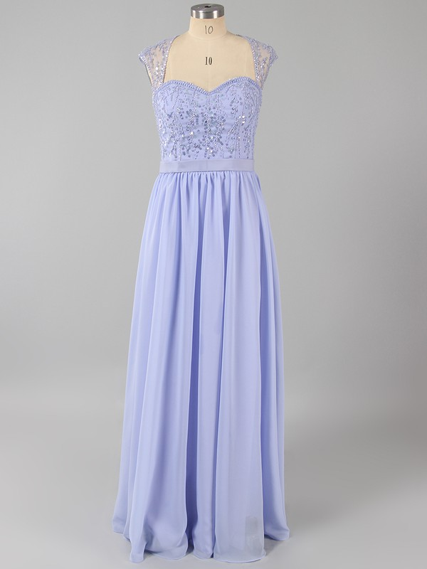 Lavender Sweetheart Cap Straps Chiffon Sequins Floor-length Prom Dress #LDB020100909
