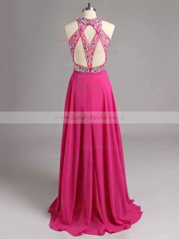 A-line Scoop Neck Chiffon Tulle Beading Claret Open Back Prom Dresses #LDB020100944