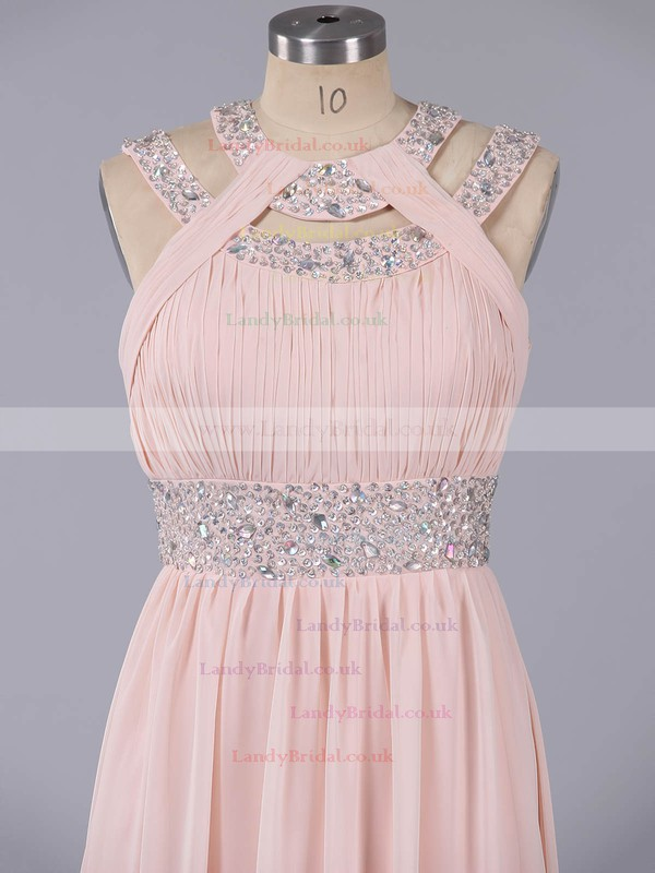 Elegant Scoop Neck Beading Floor-length Champagne Chiffon Prom Dress #LDB020101074