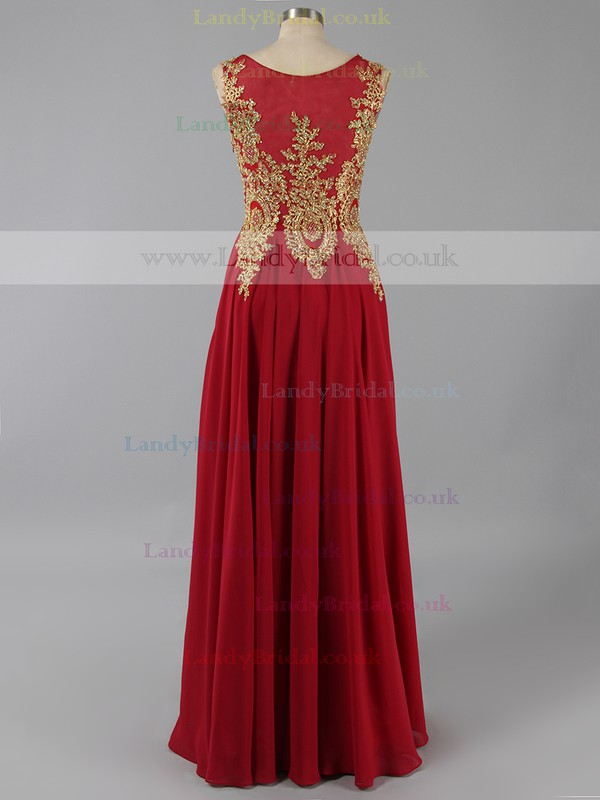Beautiful Scoop Neck Chiffon Appliques Lace Red A-line Prom Dress #LDB020101184