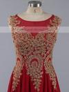 Beautiful Scoop Neck Chiffon Appliques Lace Red A-line Prom Dress #LDB020101184