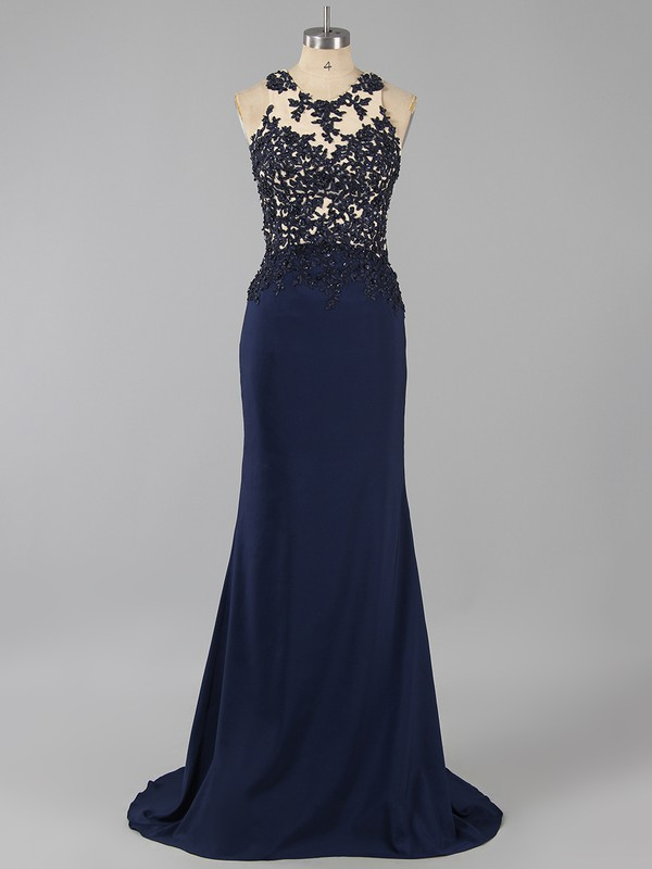 Trumpet/Mermaid Dark Navy Tulle Silk-like Satin Appliques Lace Backless Sweep Train Prom Dress #LDB020101209